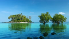 Tiny, Tropical Island in Southern Thailand with Mangrove Trees. Stock Footage