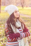 Stock Photo of Beautiful Happy Smiling Girl winter autumn season outdoor portrait. Caucasian