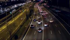 Night scene traffic of entry and exit of Barcelona.(time lapse) Stock Footage