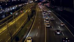 Night scene traffic  of entry and exit of Barcelona.(real time) Stock Footage