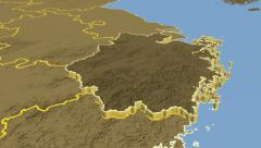 Zhejiang - China province extruded. Set of animations. Stock Footage