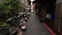 Red-light district of Taipei city, walking on the narrow street Stock Footage