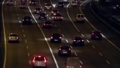 Night scene of traffic and roads entering Barcelona.(real time) - stock footage