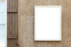 Stock Photo of Blank Wall Sign with Copy Space