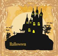 Grungy Halloween background with haunted house Piirros
