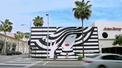 4K, UHD, Billboard on Beverly Drive, Beverly Hills, Los Angeles, California Stock Footage