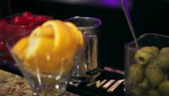 Bar Drink Garnishes Stock Footage