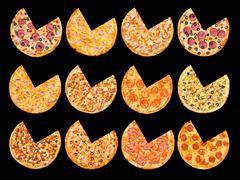 Pizzas segments cut out set Stock Photos