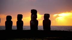 Easter Island Statues 10 HD - stock footage