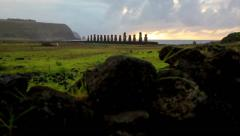 Easter Island Statues 13 HD Stock Footage