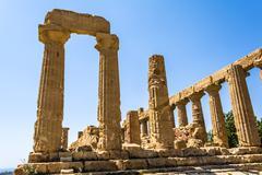 Ancient Greek Temple of Juno God, Agrigento, Sicily, Italy Stock Photos