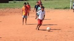 Brazilian indigenous kids playing soccer, Brazil - childrens having fun 3 Stock Footage