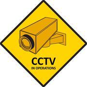 CCTV video surveillance sign. - stock illustration