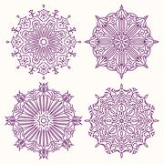 Set of 4 vector lace round decors - mandalas, decorative elements. Stock Illustration