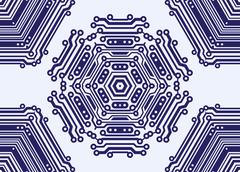 Abstract seamless pattern in PCB-layout style. Vector illustration Stock Illustration