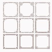 Set of 9 stylish rich decorated square decorative frames in mono line style w - stock illustration