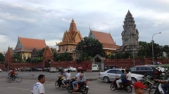 Evening Phnom Pehn down town Stock Footage