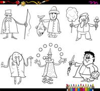 people occupations coloring page - stock illustration