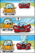 cars cartoon comic story - stock illustration