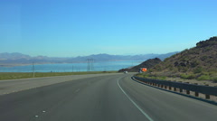 4K UHD Driving down to Lake Mead from Boulder City Nevada  2015 - 3 Stock Footage