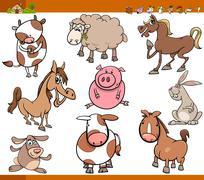 Stock Illustration of farm animals set cartoon illustration