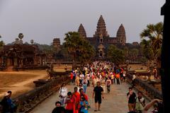 Sunset at Angkor Wat Stock Photos