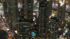 Dubai downtown at night with city lights from Burj Khalifa timelapse - stock footage