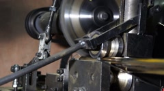 The machine with the circular saw cuts iron rod. Stock Footage