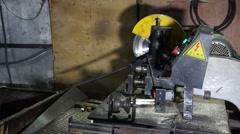 Work establishes cut-off machine. Stock Footage