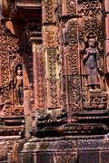 Apsara dancer on walls  Banteay Srei - stock photo