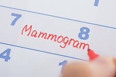 Person Hand With Mammogram Appointment Written On Calendar Stock Photos
