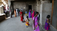 Tourists passing through the halls of Aurangabad caves. Stock Footage