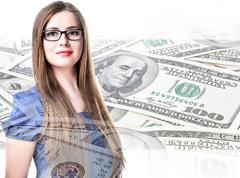Double exposure, earning money, business ladies Stock Illustration