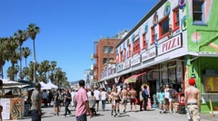 4K, UHD, Venice Beach Promenade Landmark, Los Angeles, California, BlackMagic Stock Footage