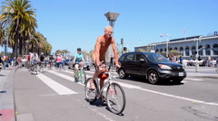 Naked Bike Ride 2015 in San Francisco, California, USA. Stock Footage