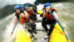Whitewater rafting powerful splashes, slow motion converted from 120fps Stock Footage