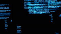 4k scroll blue words,computer random generate. Stock Footage