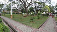Central city park with old trees in the city of Malacca Stock Footage