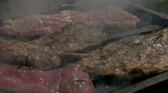 High definition meat   barbecue  3840X2160 UHD footage - Barbecue meat and sm - stock footage