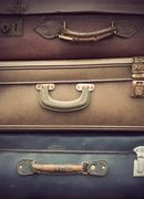 vintage leather suitcases - stock photo