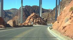 4K UHD driving under Hoover Dam bypass bridge 2 Stock Footage