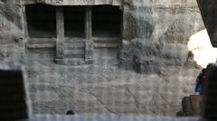 View at the entrance to rooms of Aurangabad caves. Stock Footage
