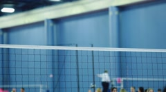Volleyball net at Indoor Court during Tournament Stock Footage