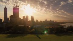 People Exercising In King's Park As The Sun Rises Over Perth City Stock Footage