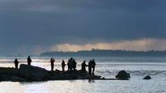 Fishermen, Garry Point, Steveston Dawn Stock Footage