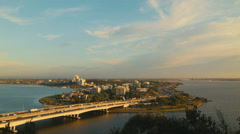 Narrows Bridge in Perth, Australia in the Evening Light Stock Footage