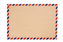 brown envelope with blue and red striped - stock photo