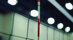 Close-up of Net at Female Indoor Volleyball Game - stock footage