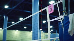 Volleyball Net at Indoor Court during practice Stock Footage