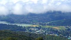 Nuwara Eliya, Gregory lake and clouds over Stock Footage